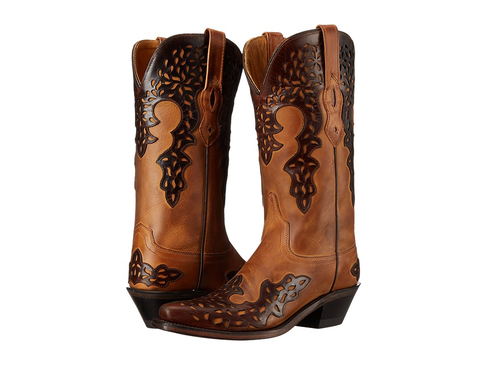Old West Boots - LF1539 (Burnwood/Brown) Cowboy Boots