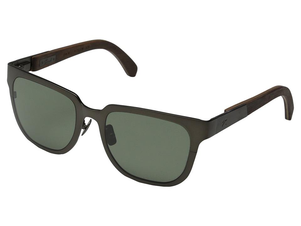 Shwood Prescott Titanium Polarized Gun Metal Titanium/Walnut/G15 Polarized Fashion Sunglasses
