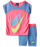 Nike Kids - Varigated Dot Dolman Short Sleeve & Bike Shorts Set (Little Kids)