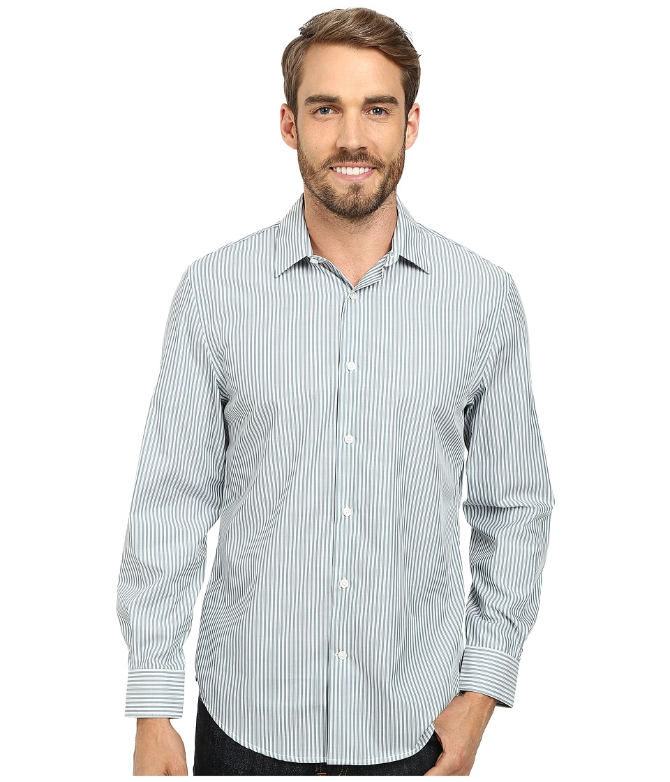 Perry Ellis Non Iron Stripe Pattern Shirt Silver Pine Mens Long Sleeve Button Up