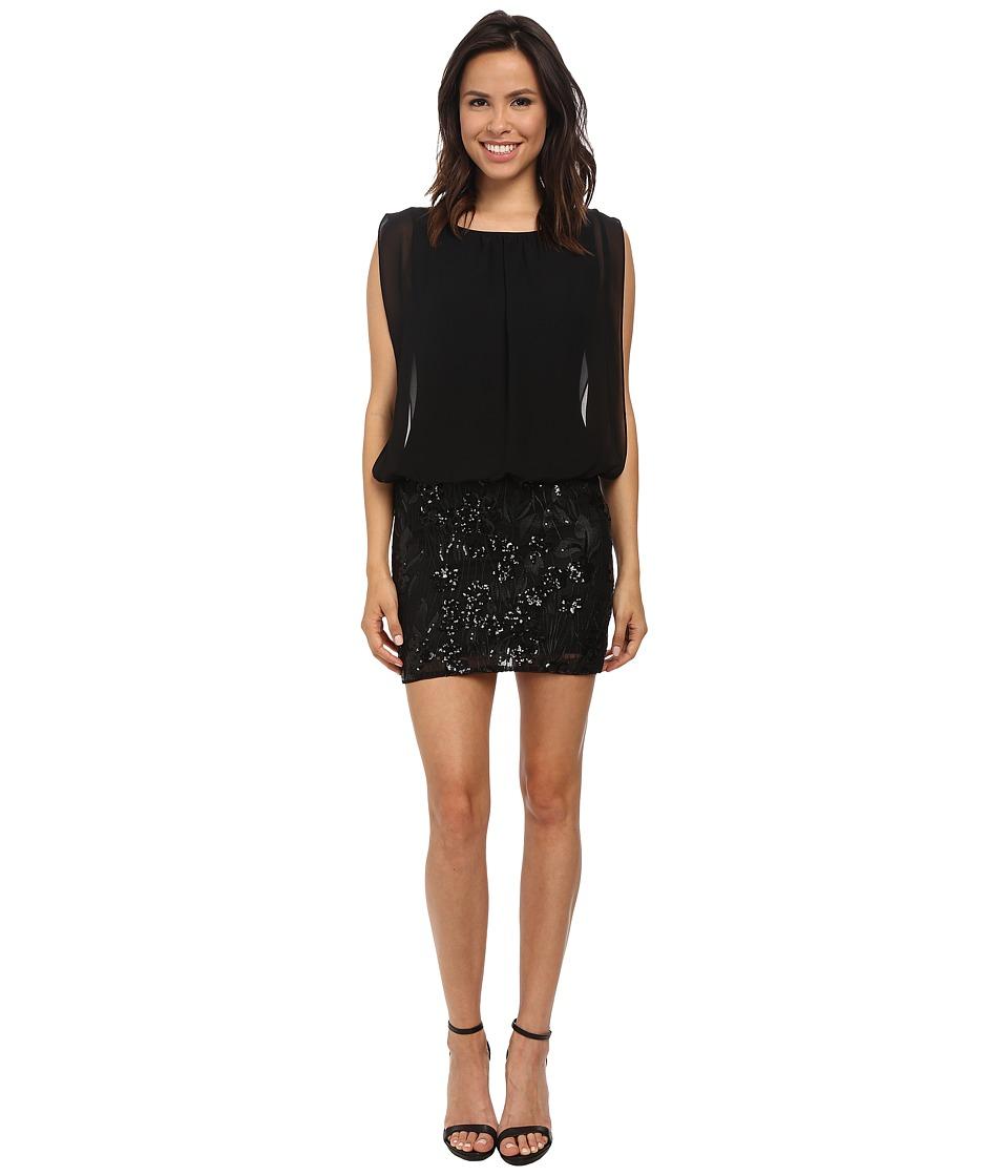 Aidan Mattox Beaded Lace Skirt Dress w/ Blouson Top Black Womens Dress