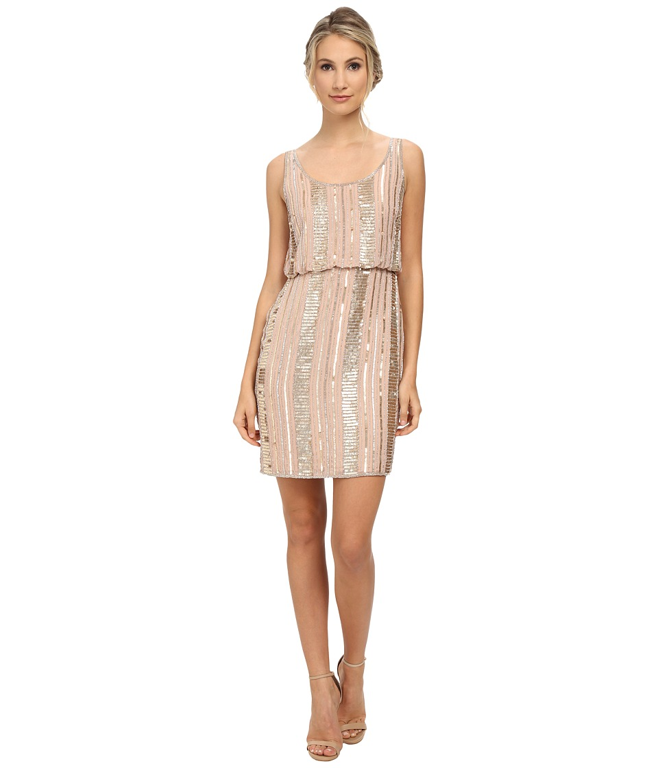 Aidan Mattox Beaded Blouson Tank Dress Blush Womens Dress