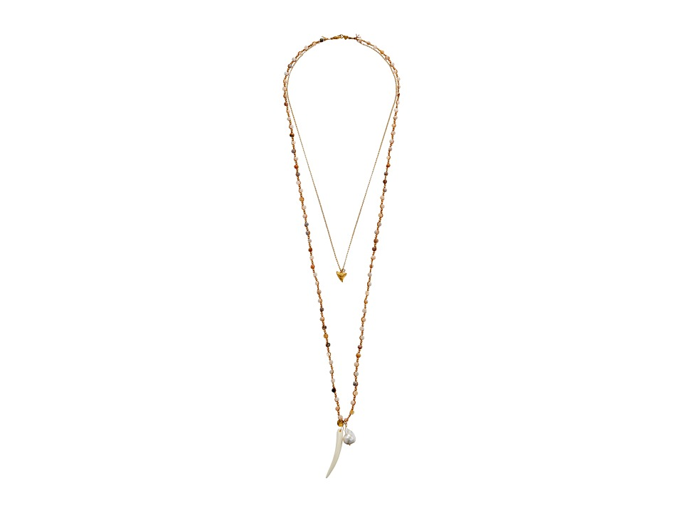 Chan Luu - 34 Double Strand Necklace w/ Shark Tooth Charm (African Opal) Necklace
