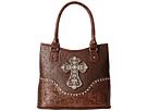 M&F Western Ostrich Cross Shoulder Bag (Brown)
