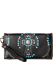 M&F Western - Turquoise Beaded Cross Wristlet Wallet