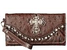 M&F Western Ostrich Cross Wristlet Wallet (Brown)