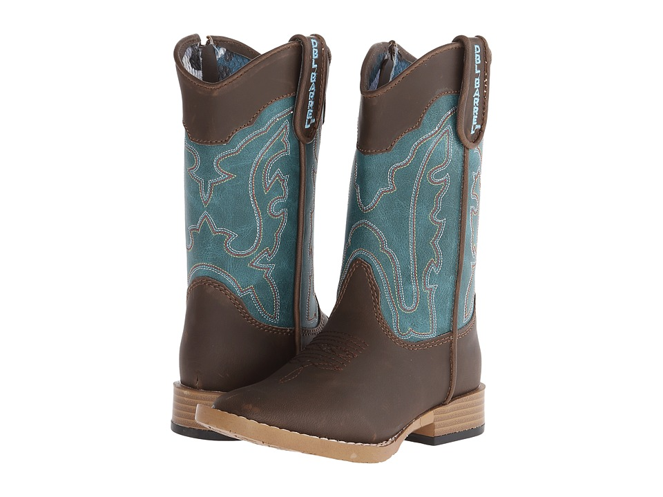 Blazin Roxx Open Range Zip (Toddler) (Brown/Turquoise) Cowboy Boots