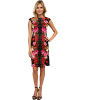 London Times - Cap Sleeve Placement Print Scuba Sheath