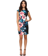 London Times - Cap Sleeve Placement Print Ponte Sheath