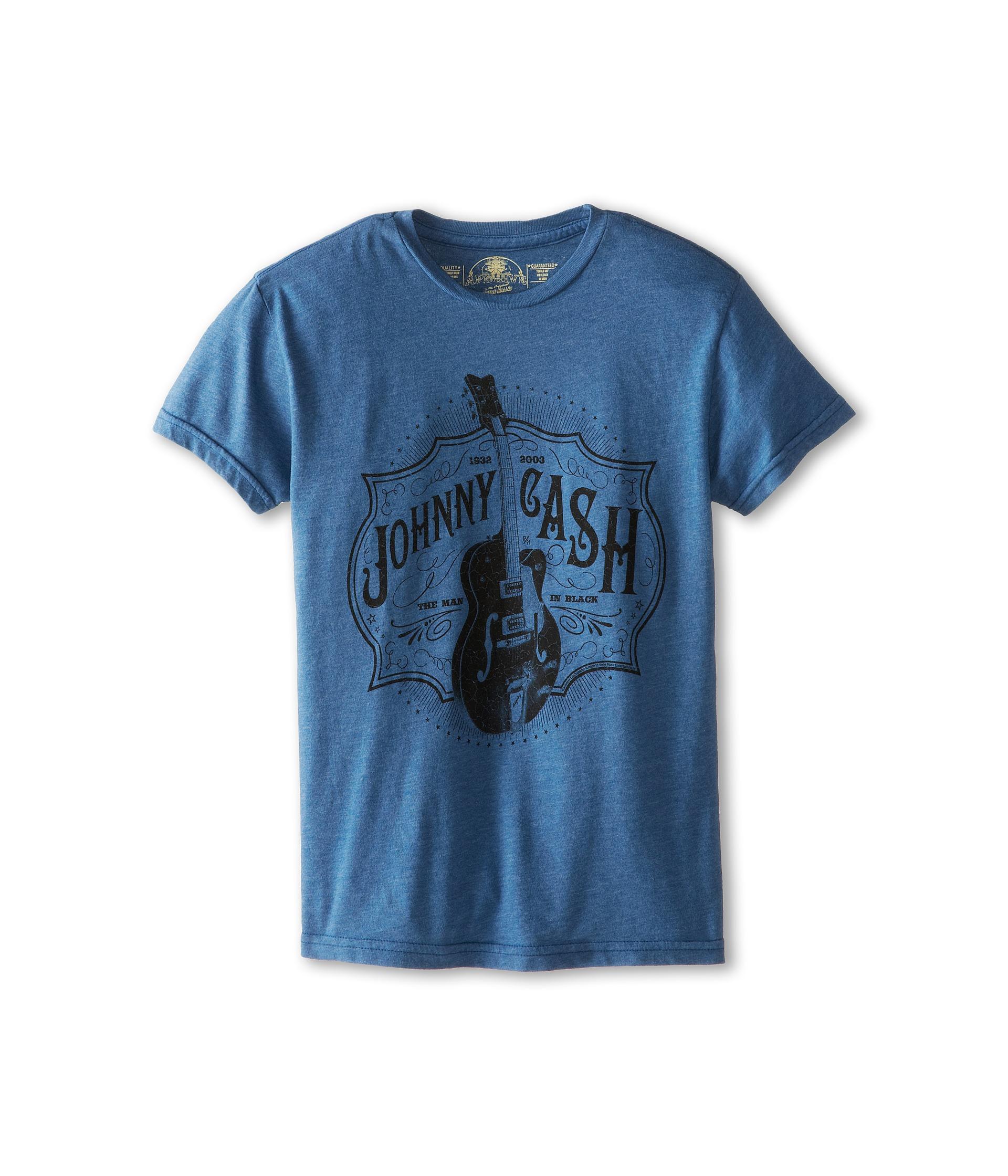 The Original Retro Brand Kids Johnny Cash Heathered Tee (Big Kids) Heather Blue