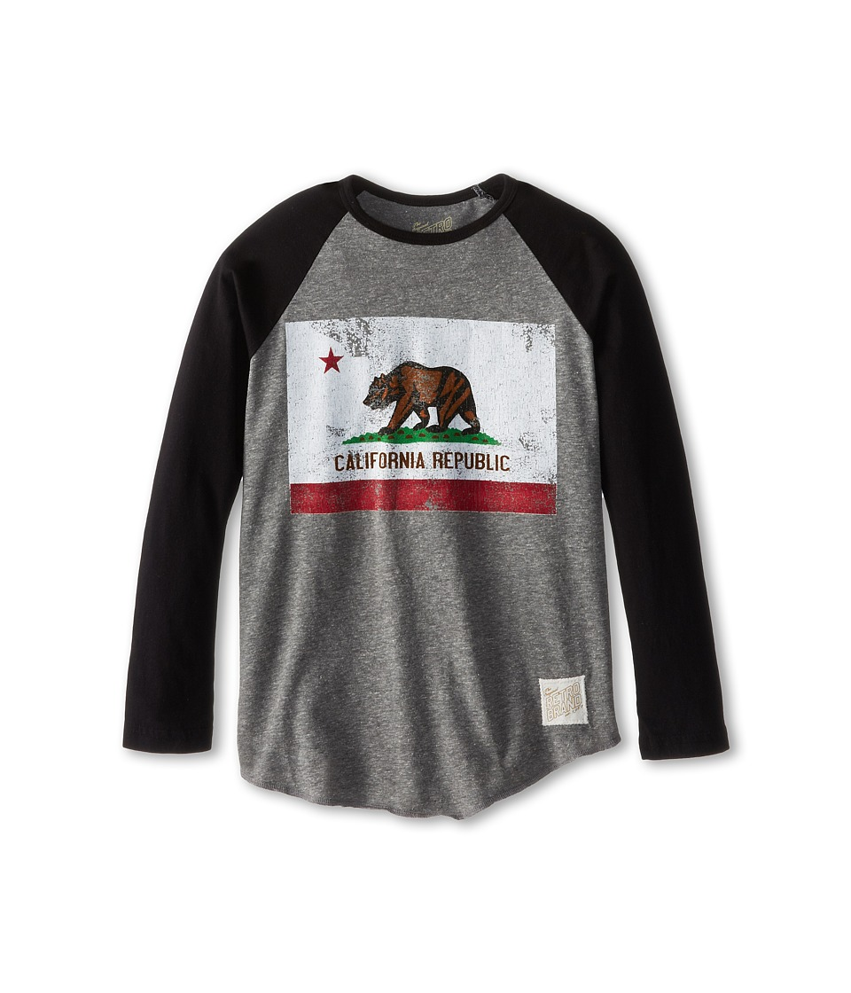 The Original Retro Brand Kids California Flag Raglan Long Sleeve Baseball Tee Big Kids Streaky Grey/Black Boys Long Sleeve Pullover