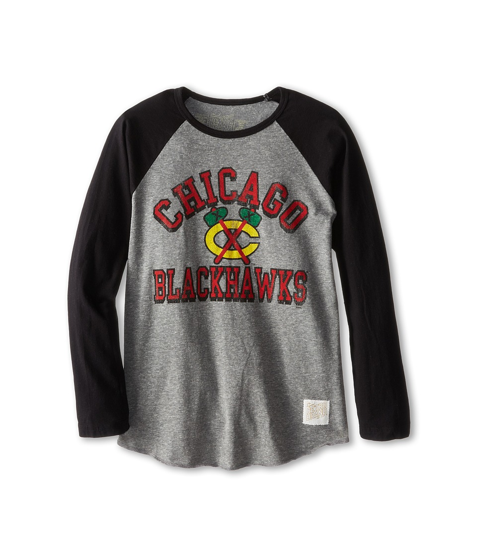 The Original Retro Brand Kids Chicago Blackhawks Long Sleeve Baseball Tee Big Kids Streaky Grey/Black Boys T Shirt