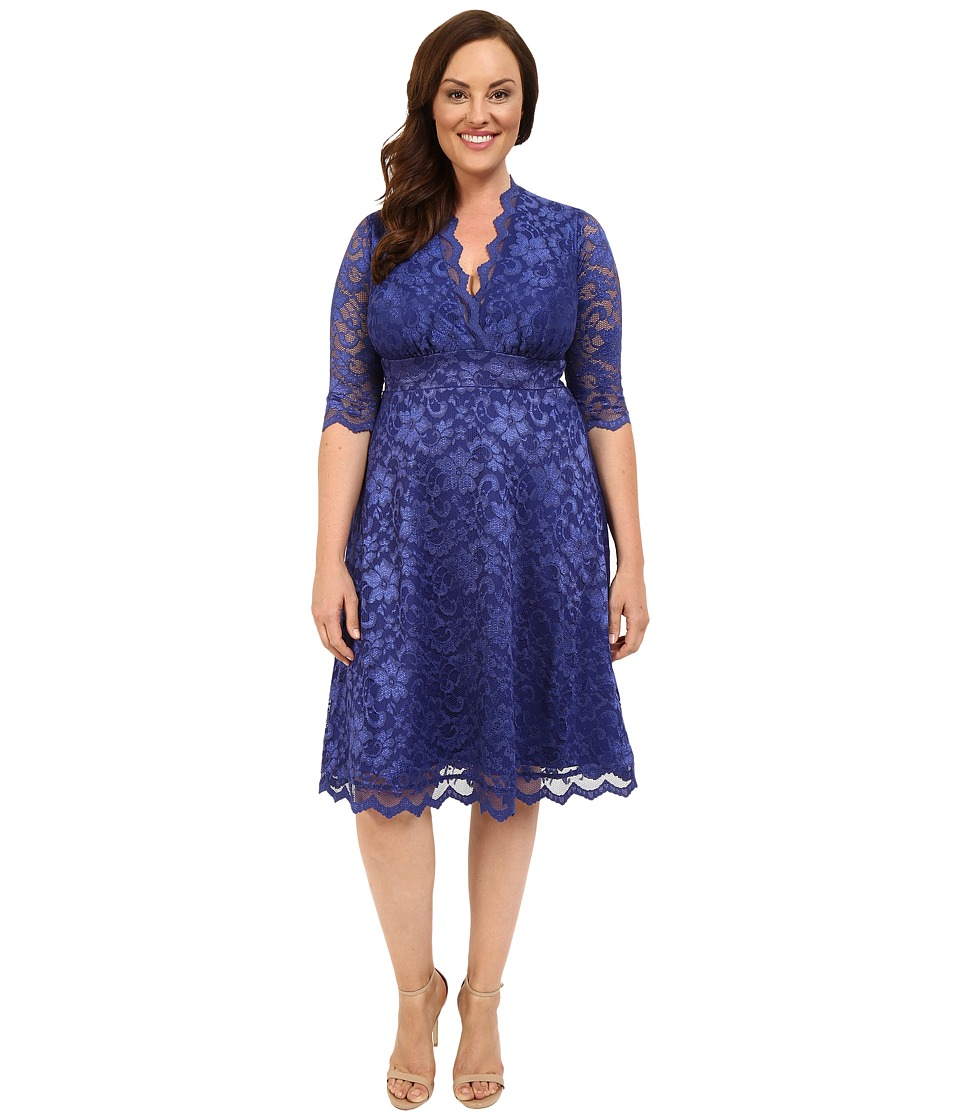 Kiyonna - Mademoiselle Lace Dress (Sapphire Blue) Womens Dress