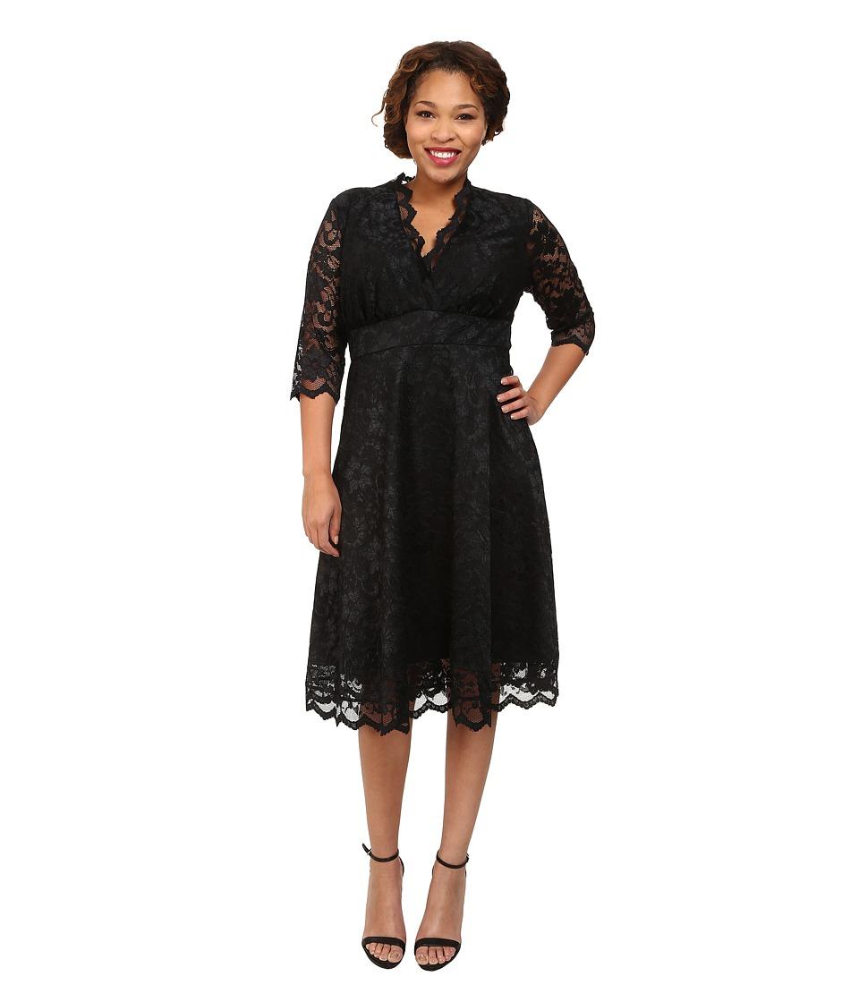 Kiyonna - Mademoiselle Lace Dress Onyx Womens Dress $164.00 AT vintagedancer.com
