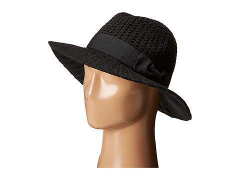 San Diego Hat Company CTH4117 Woven Yarn Stitch Fedora with Grosgrain Bow - Black