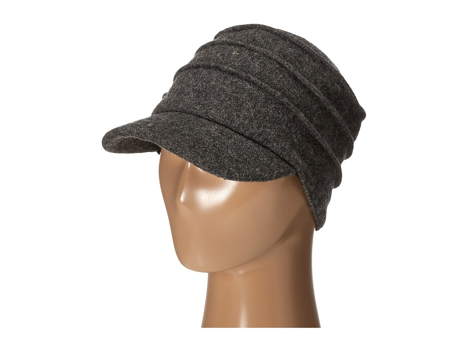 San Diego Hat Company - SDH0518 Wool Cadet with Right Side Flower (Charcoal) Caps