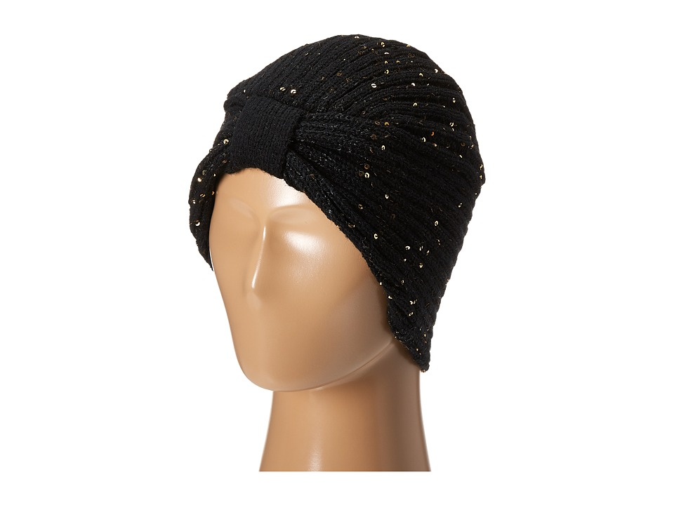 1920sFlapperHeadbands San Diego Hat Company - KNH3376 Fine Knit Turban with Sequins Black Caps $36.00 AT vintagedancer.com