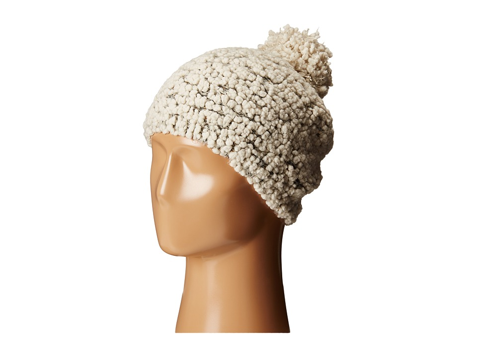 San Diego Hat Company - KnH3370 Textured Beanie with Gold Sequins (Ivory) Beanies