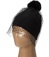 San Diego Hat Company - KNH3364 Beanie with Dobby Dot Tulle Veil and Pom Pom