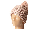 KNH3356 Cable Knit Beanie with Faux Fur Pom Pom