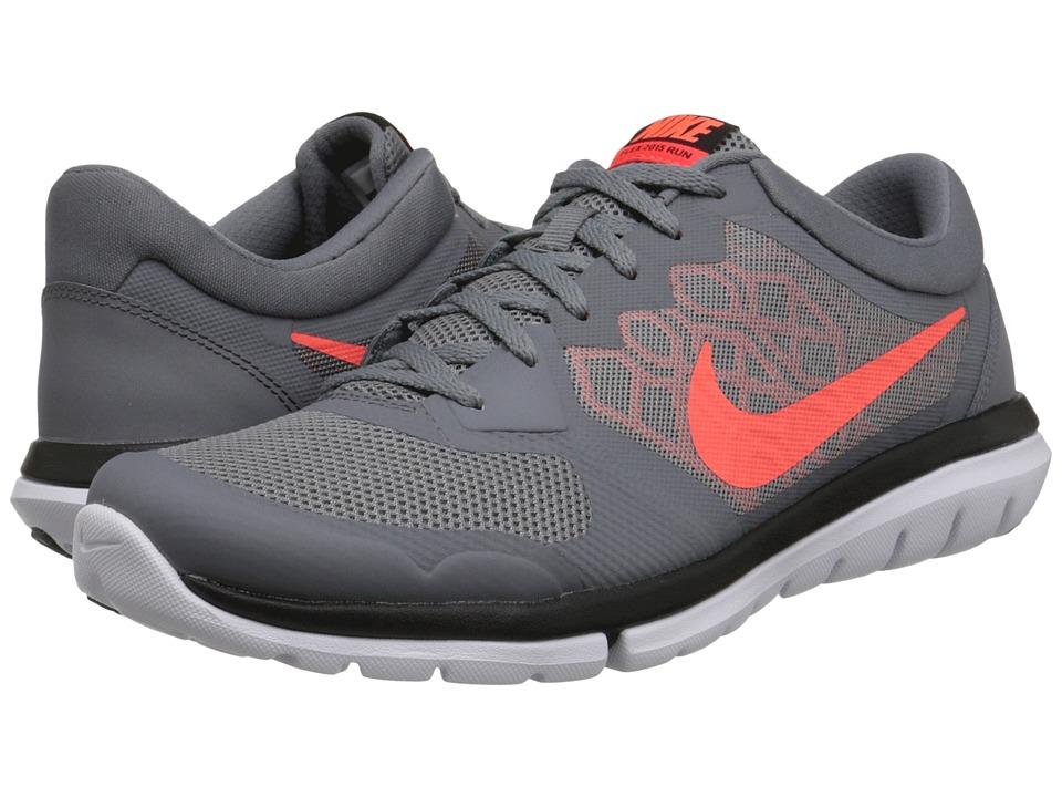 Nike - Flex 2015 RUN (Cool Grey/Bright Crimson/University Red/Hyper Orange) Mens Running Shoes