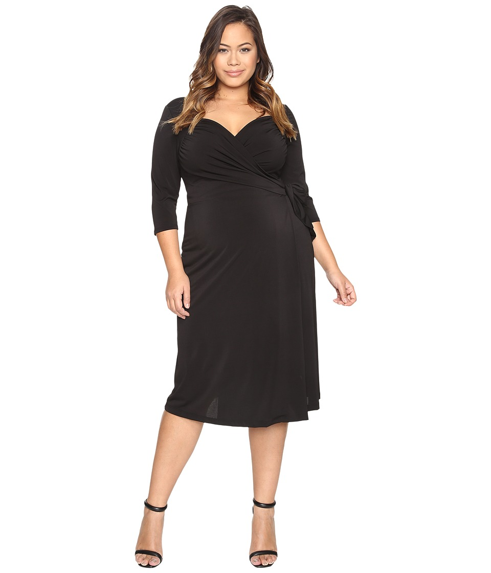Kiyonna - Sweetheart Knit Wrap Dress Black Noir Womens Dress $98.00 AT vintagedancer.com