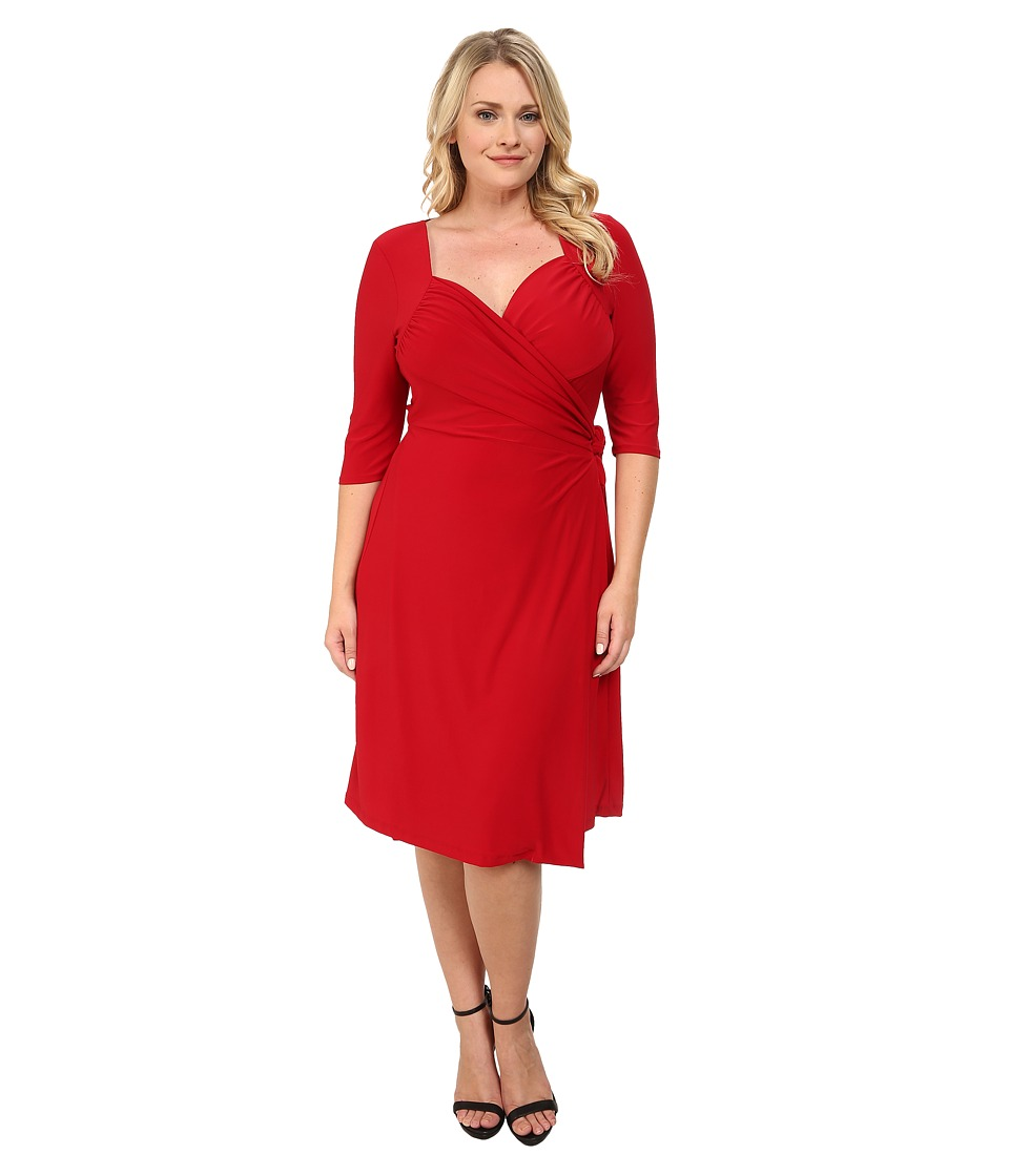 Kiyonna - Sweetheart Knit Wrap Dress Ruby Rendezvous Womens Dress $98.00 AT vintagedancer.com