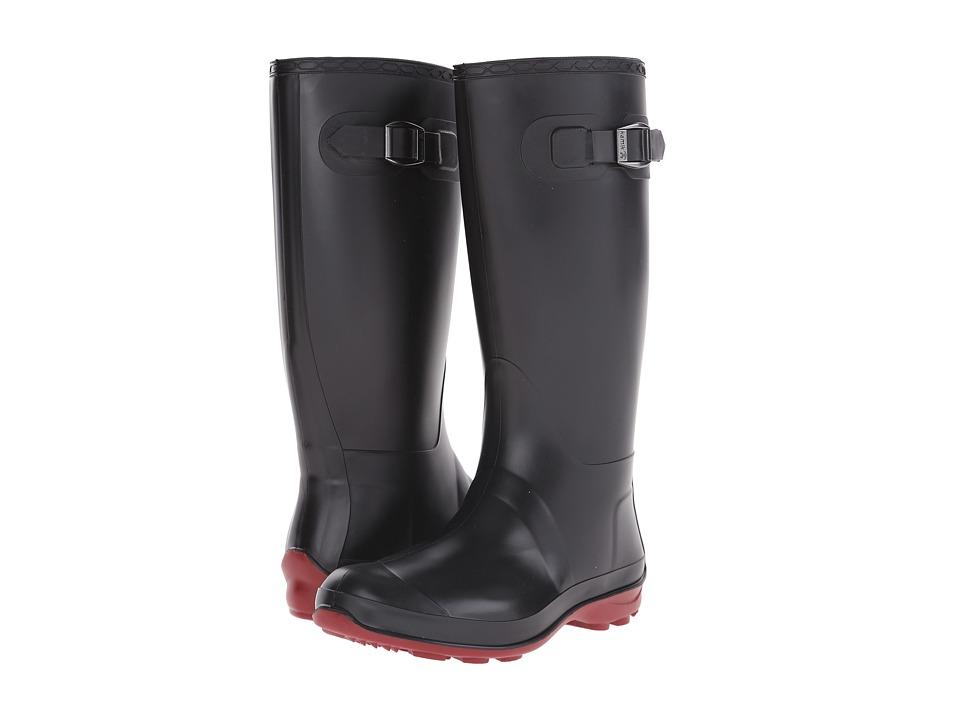 Kamik Olivia Black/Brick Red Sole Womens Rain Boots
