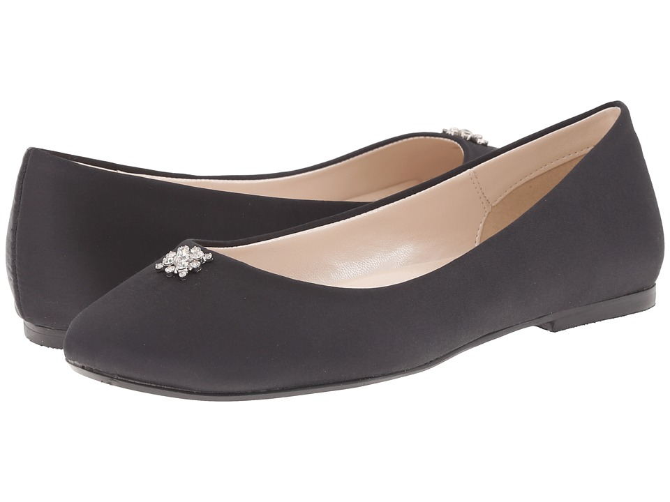 Caparros - Windfall Black Satin Womens Flat Shoes $75.00 AT vintagedancer.com