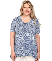 Karen Kane Plus - Plus Size Blue Tile Handkerchief Top