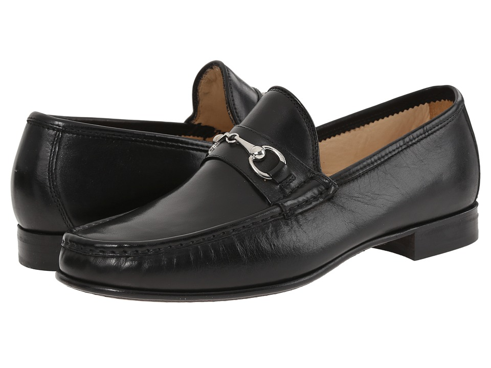 Massimo Matteo Hand Sewn Moccasin with Bit Black Mens Slip on Shoes