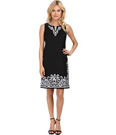 Jessica Howard - Sleeveless Split Neck Embroidered Shift Dress