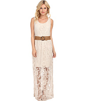 Jessica Howard - Sleeveless Scoop Neck Blouson Maxi Dress w/ Braided Sash
