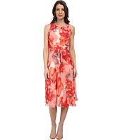 Jessica Howard - Sleeveless Shirred Neck Belted Dress w/ Fit & Flare Skirt