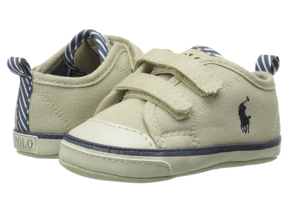 Ralph Lauren Layette Kids Carlisle II EZ Infant/Toddler Khaki Canvas Boys Shoes