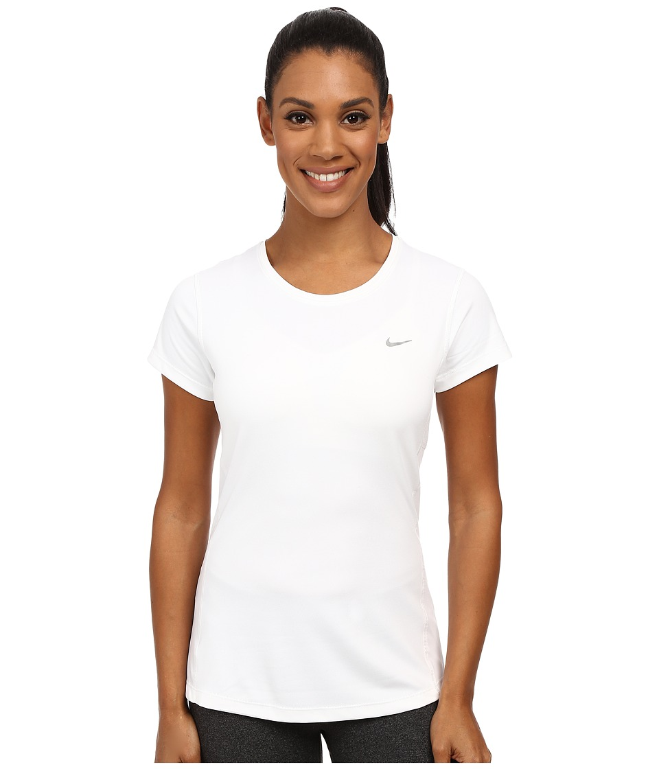Nike Dri-FIT Miler Short Sleeve Top (White/Reflective Silver) Women