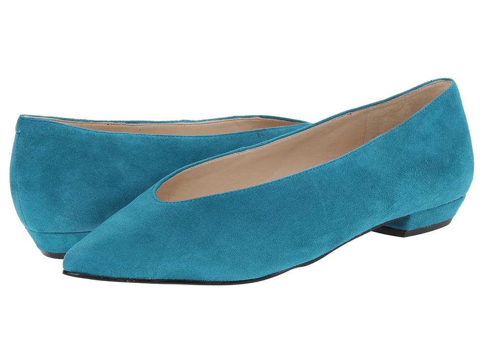 Nine West - Trophywife Blue Green Suede Womens Flat Shoes $79.00 AT vintagedancer.com