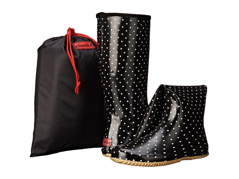 Chooka Classic Dot Packable Rain Boot Black Womens Rain Boots