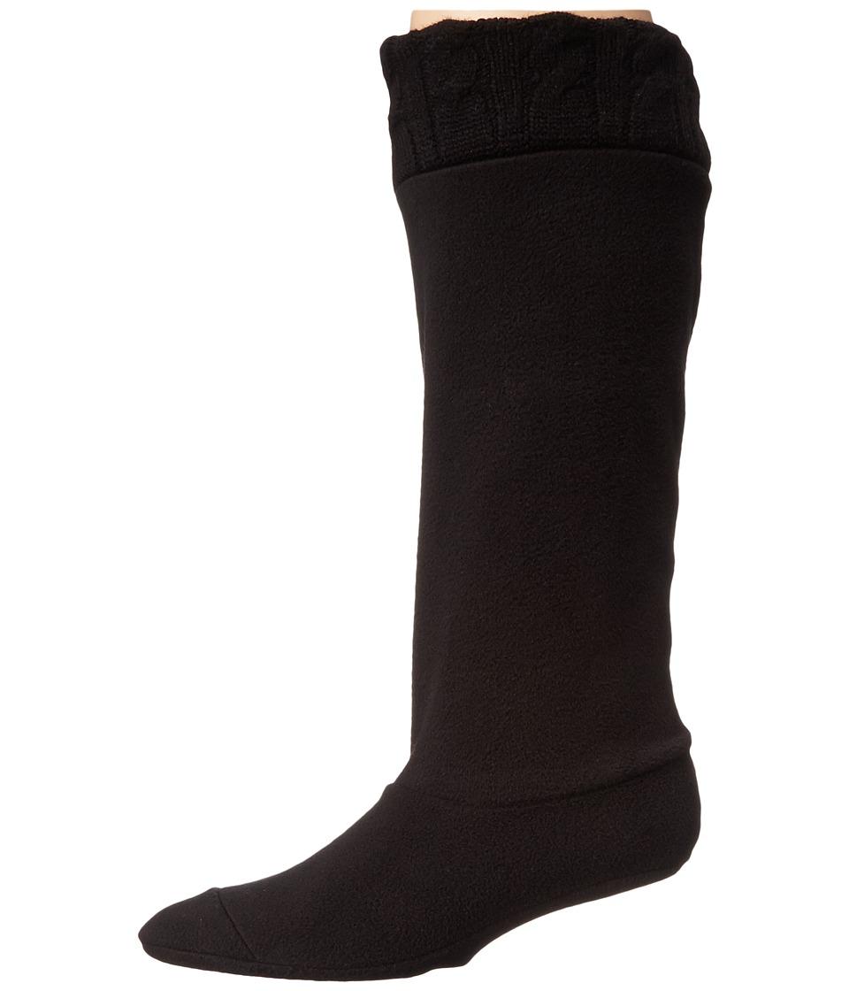 Chooka Cable Knit Cuff Fleece Liner Black Womens Quarter Length Socks Shoes