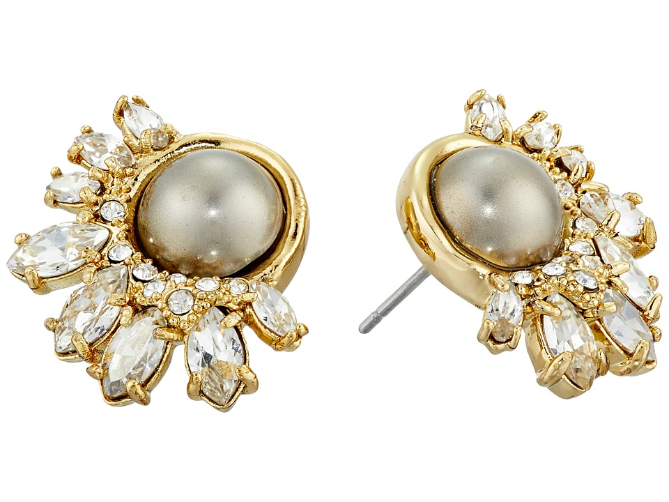 Alexis Bittar Arrayed Marquis Accented Pearl Stud Earrings Gold Earring