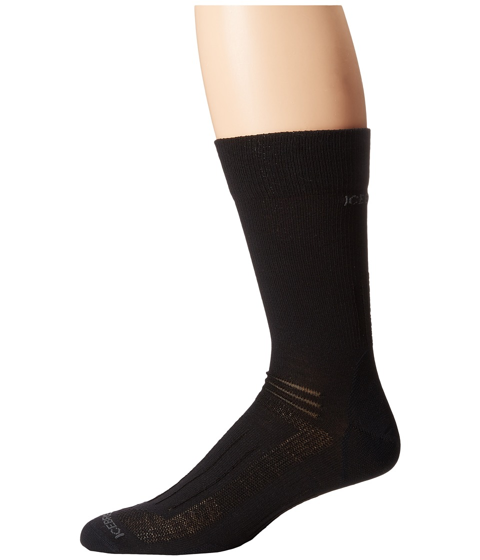 Icebreaker Hike Liner Crew 1 Pair Pack Black Mens Crew Cut Socks Shoes