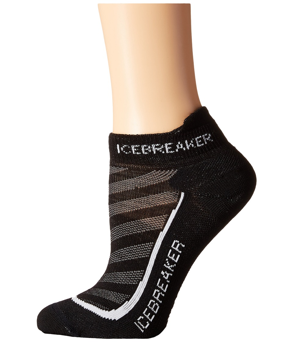 Icebreaker Run Ultra Light Micro 1 Pair Pack Black/Pearl/Black Womens No Show Socks Shoes