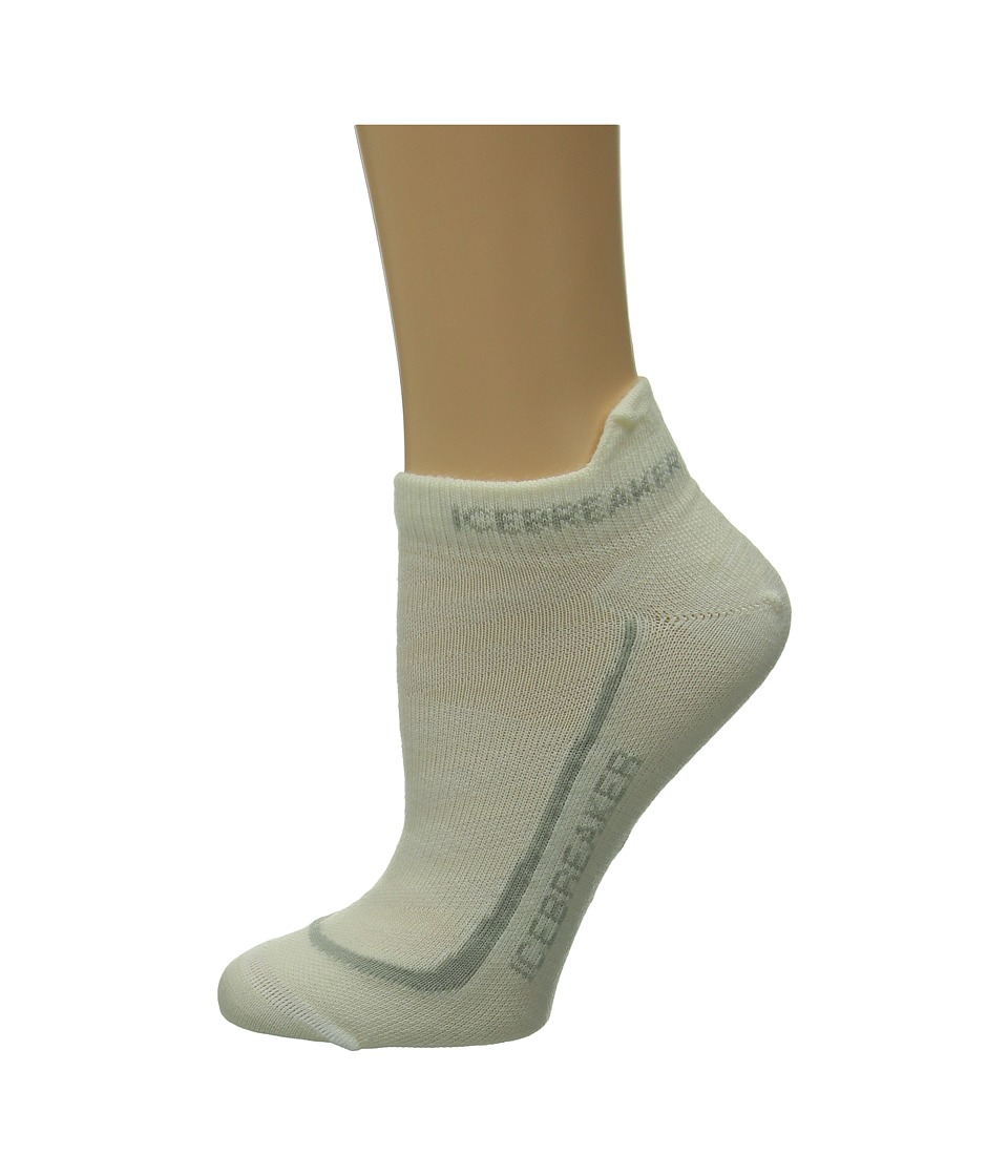 Icebreaker Run Ultra Light Micro 1 Pair Pack White/Silver/White Womens No Show Socks Shoes