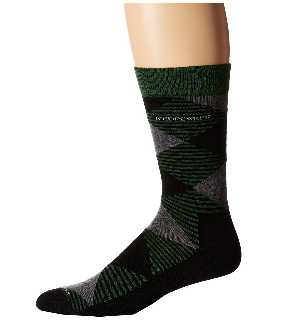 Icebreaker Lifestyle Fine Gauge Ultra Light Crew Argyle 1 Pair Pack Scout/Black/Jet Heather Mens Crew Cut Socks Shoes