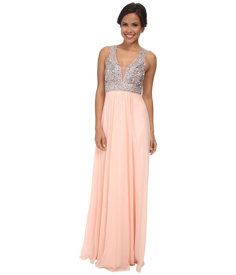Faviana Glamour Chiffon V Neck Beaded Bust S7500 Soft Peach Womens Dress