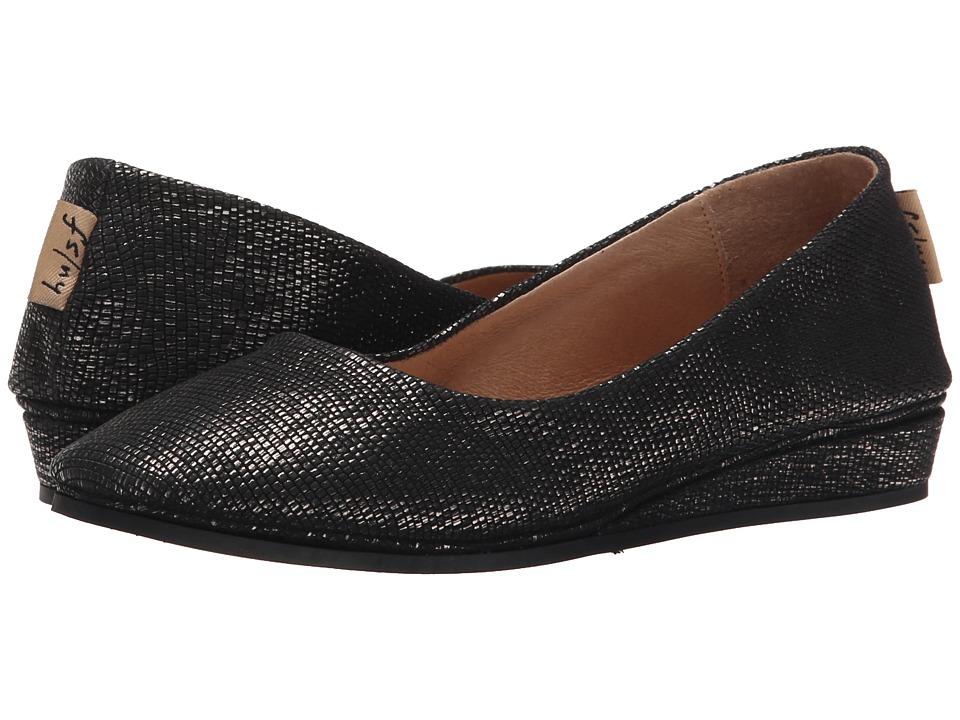 French Sole Zeppa Black Metallic Lizard Womens Slip on Shoes