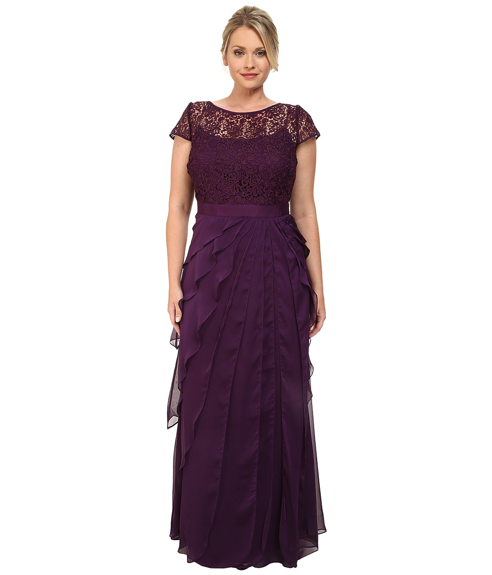 Adrianna Papell - Plus Size Lace Bodice Dress w Flutter Skirt Eggplant Womens Dress $240.00 AT vintagedancer.com