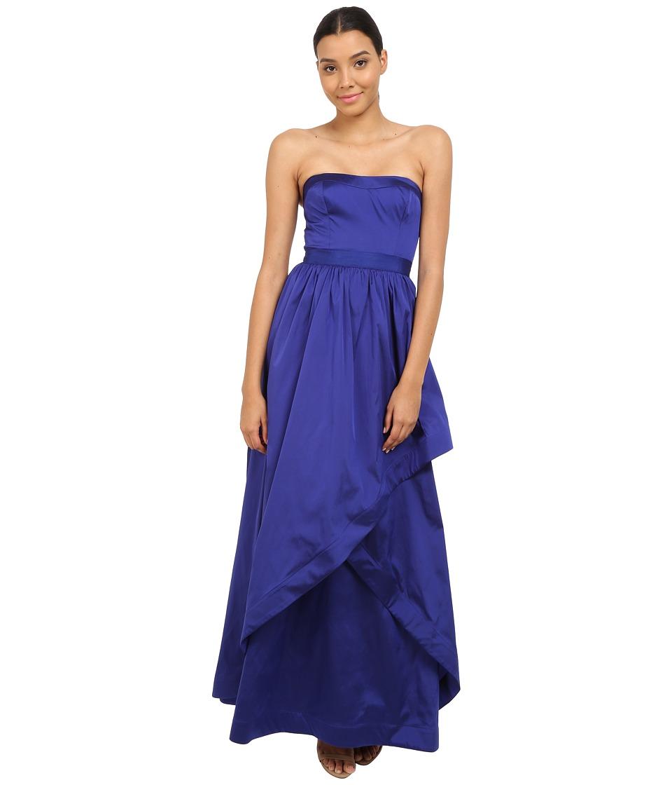 Adrianna Papell Strapless Taffeta Ball Gown w/ Cross Skirt Detail Neptune Womens Dress