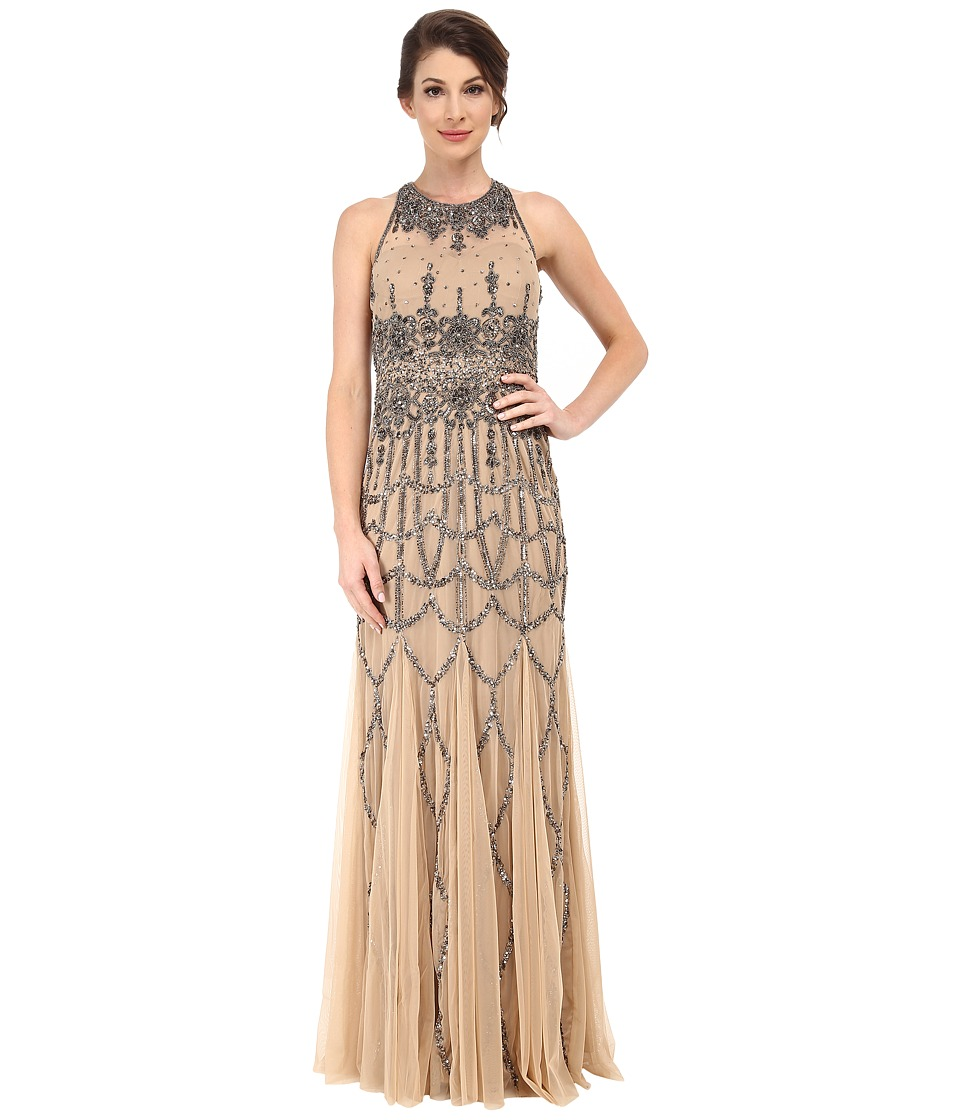 Adrianna Papell - Sleeveless Fully Beaded Gown Nude Womens Dress $340.00 AT vintagedancer.com