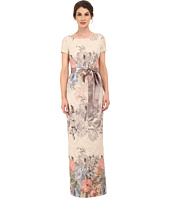 Adrianna Papell - Matelasse Printed Floral Column Gown w/ Picot Edge Ribbon
